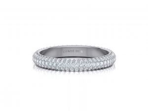 Alianza oro blanco de boda con pavé de diamantes