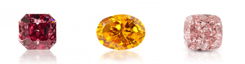 Diamantes rosas, diamantes rojos, diamantes naranjas, diamantes fancy conde de diamante
